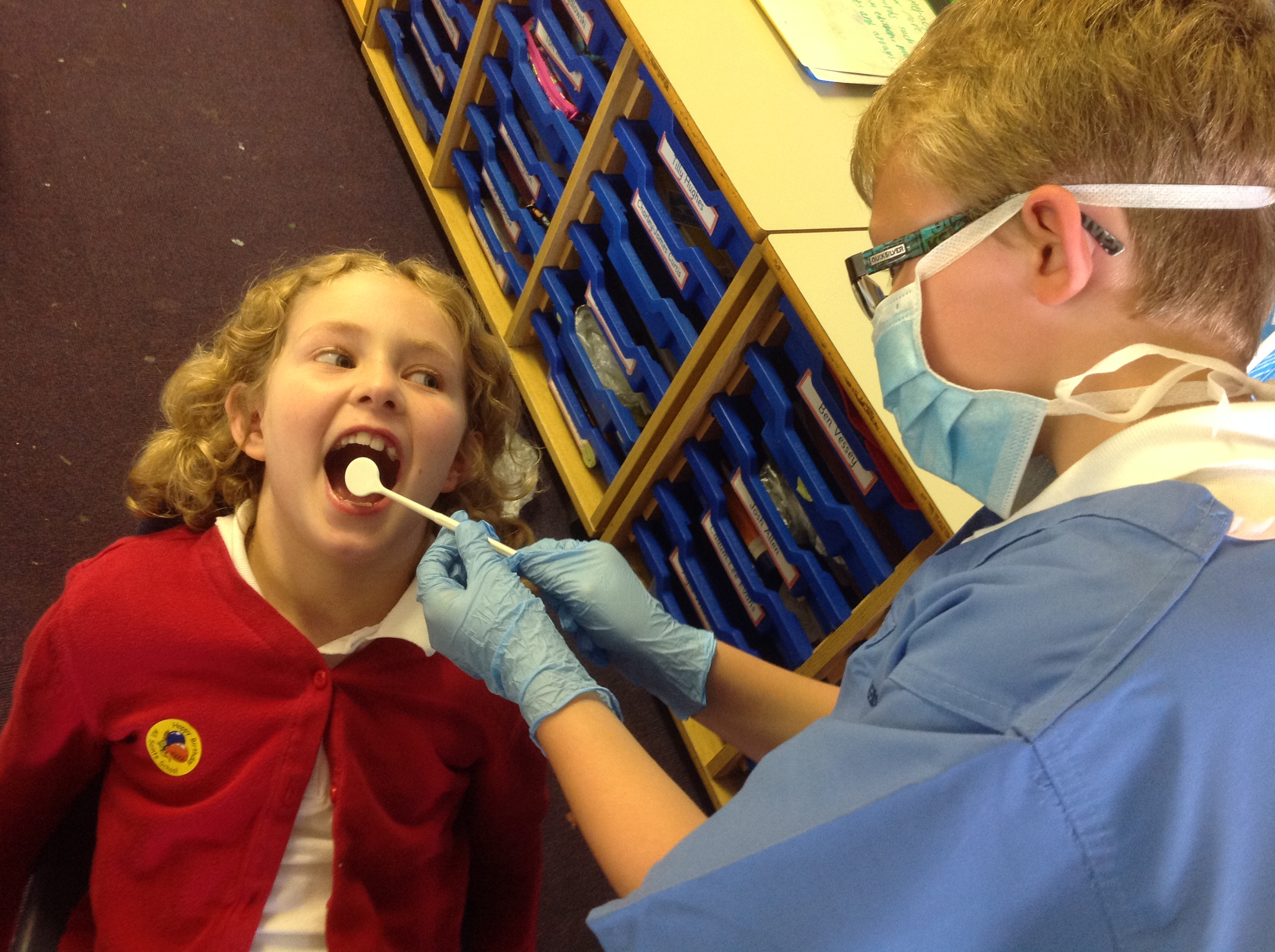 Mrs Rontree came in to visit us and showed us lots of equipment and then gave us some special liquid to check how well we cleaned our teeth.  Some people did very well but some of us need to make sure we brush carefully!